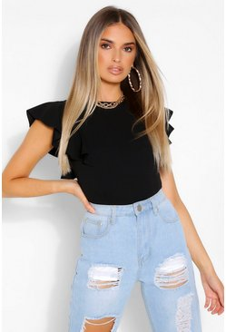 Black Sleeveless Ruffle Bodysuit