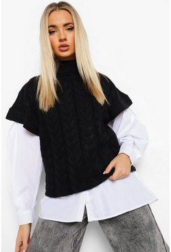 Black Roll Neck Cable Knit Tank