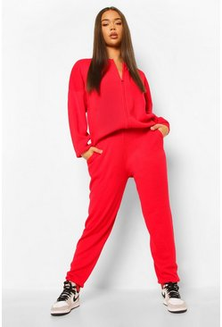 Berry red Zip Up Knitted Tracksuit