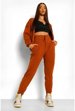 Chocolate brown Zip Up Knitted Tracksuit