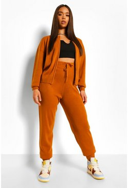 Spice orange Zip Up Knitted Tracksuit