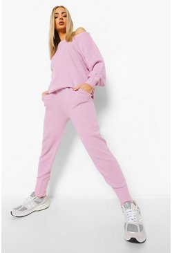 Lilac Moss Stitch Knitted Tracksuit