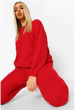 Berry Moss Stitch Knitted Tracksuit