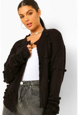 Black Soft Knit Pom Pom Cardigan
