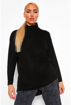 Black High Neck Boyfriend Sweater