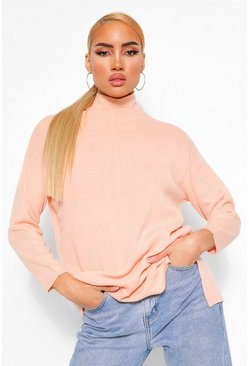 Peach orange  High Neck Boyfriend Jumper