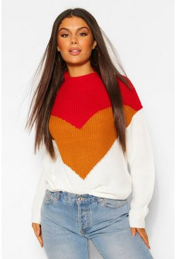 Berry red Colour Block Sweater