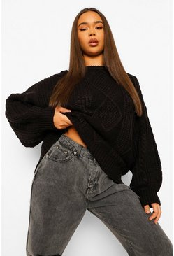 Black Oversized Cable Knit Sweater