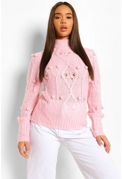 Pink Soft Knit Pom Pom Jumper