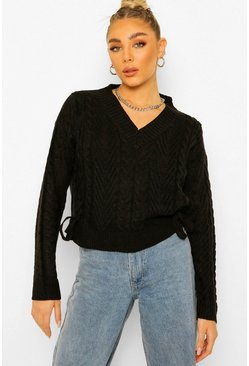 Black Lace Up Cable Crop Jumper
