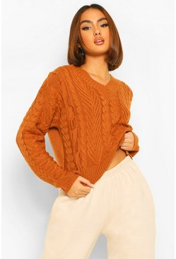 Rust orange Lace Up Cable Crop Jumper