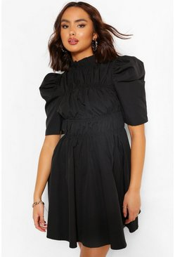 Black High Neck Rouched Detail Puff Sleeve Skater Dress