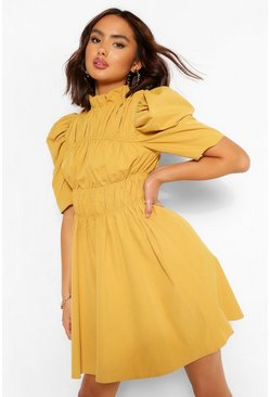 Mustard yellow High Neck Rouched Detail Puff Sleeve Skater Dress