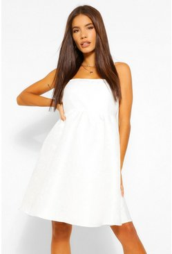 White Strappy Jacquard Babydoll Dress