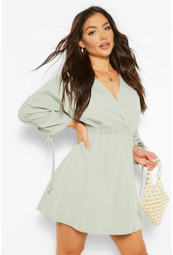 Sage green V Neck Wrap Rouched Sleeve Skater Dress