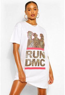 White Run DMC Leopard Print T Shirt Dress