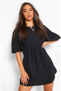 Black Puff Sleeve Skater Dress