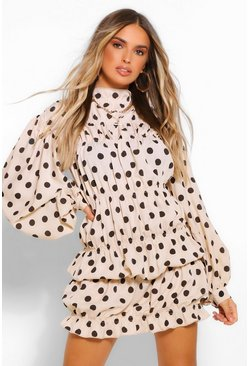 Ivory white Polka Dot High Neck Gathered Mini Dress