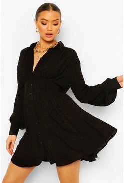 Black Dobby Gathered Shoulder Shirt Dress