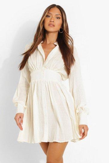 Cream white Dobby Gathered Shoulder Shirt Dress