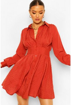 Rust orange Dobby Gathered Shoulder Shirt Dress
