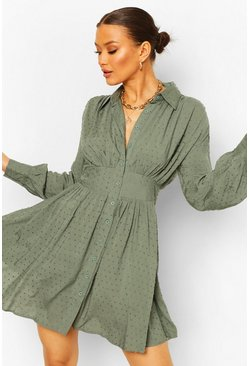 Teal green Dobby Gathered Shoulder Shirt Dress