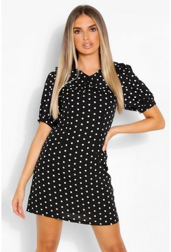 Black Polka Dot Collared Short Sleeve Mini Dress