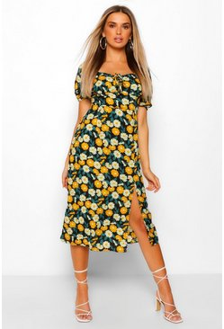 Yellow Floral Print Square Neck Midi Dress