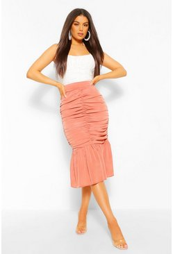 Terracotta orange Ruched Front Pep Hem Midi Skirt