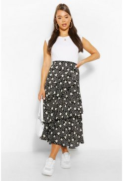 Black Floral Layered Floaty Midi Skirt