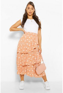 Peach orange Floral Layered Floaty Midi Skirt