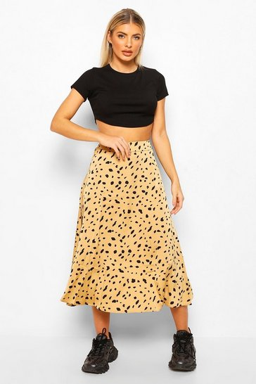 Beige Smudge Polka Dot Floaty Midi Skirt