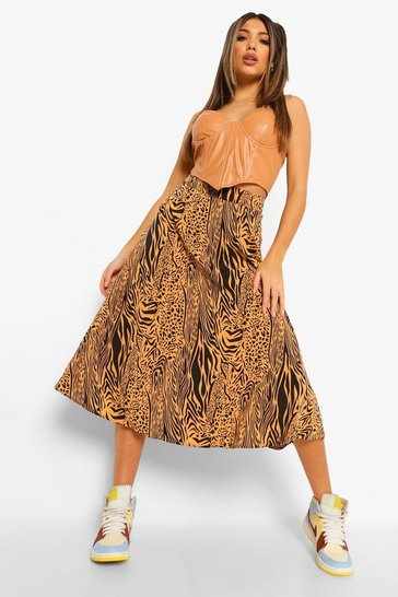 Tan brown Zebra Print Satin Floaty Midi Skirt