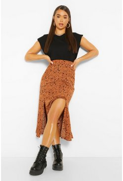 Terracotta orange Leopard Floral Button Front Floaty Midi Skirt