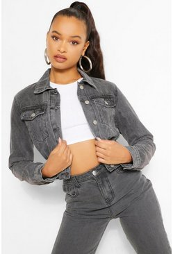 Black Vintage Wash Denim Rouched Jacket