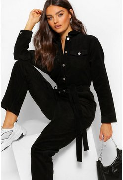 Black Cord Belted Jumpsuit
