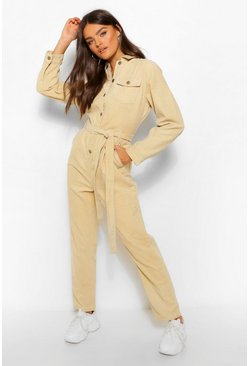 Stone beige Cord Belted Jumpsuit