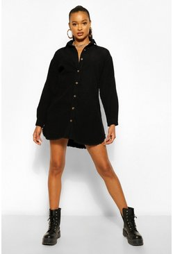 Black Cord Fray Hem Shirt Dress