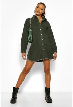 Khaki Cord Fray Hem Shirt Dress
