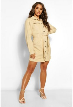 Stone beige Cord Belted Shirt Dress