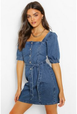 Indigo Denim Button Down Puff Sleeve Belted Dress