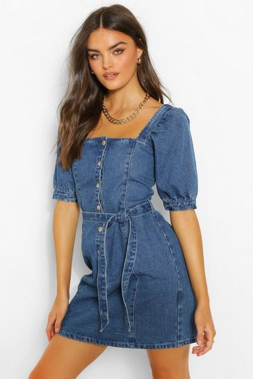 Indigo blue Denim Button Down Puff Sleeve Belted Dress