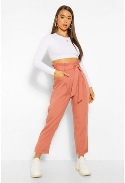 Rose pink Paperbag Waist Straight Leg Woven Trousers