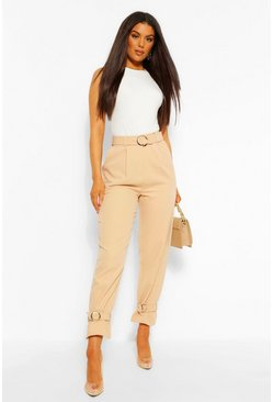 Nude Belted Ankle Tie Slim Fit Trousers