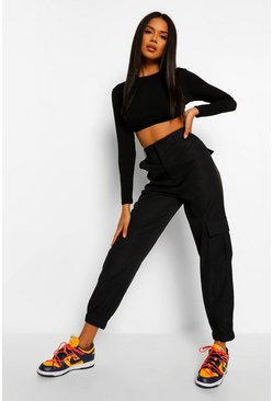 Black Relaxed Cargo Trousers