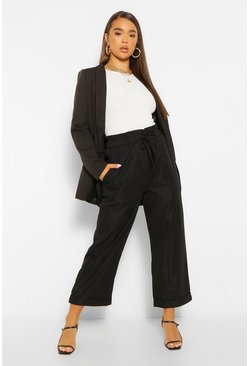 Black Oversized Cropped Tie Waist Trousers