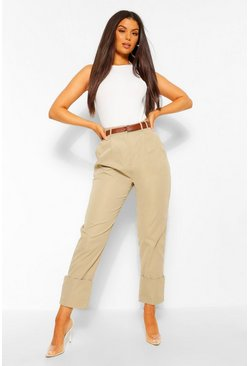 Khaki Deep Cuff Belted Pleat Front Trousers
