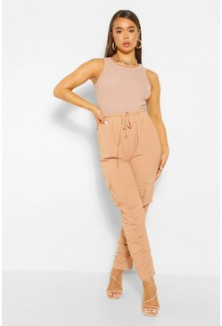 Nude Ruched Leg Cargo Pocket Slim Leg Trousers