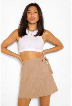 Stone beige Linen Look Wrap Mini Skirt