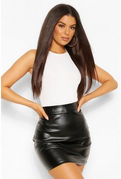 Black Leather Look A Line Mini Skirt